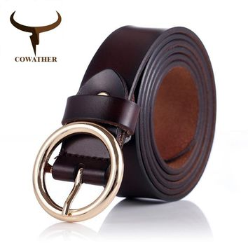COWATHER women belts cow genuine leather good quality alloy pin buckle style design cinto feminino
