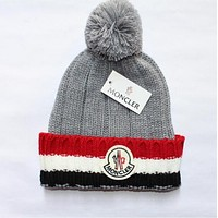 "Hot Sale ""MONCLER"" Winter Popular Knit Hat Warm Cap Grey I12673-1"