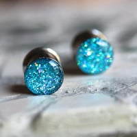 Aqua Holographic Gauges, Sparkly Aqua Plugs, Aqua Glitter Gauges, Stretched Ears - size 4g, 2g, 0g, 00, 7/16, 1/2, 9/16, 5/8, 3/4, 7/8, 1""