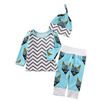 3pcs!!Autumn Boutique Baby Boys Girls Home Outfits Fox Striped Long Sleeve Tops+Long Pants Hat Set Clothes