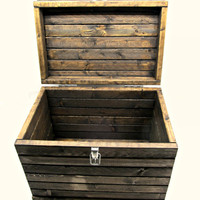 Rustic Medium Storage Trunk with Latch - Handmade Wood Box with Lid - Lockable Wooden Storage Chest with Silver Hardware - Small Toy Box
