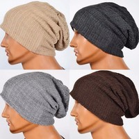 Men's Knit Baggy Beanie Oversize Winter Hat Ski Slouchy Cap Skull