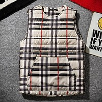 Burberry Autumn And Winter Fashion New Stripe Keep Warm Vest Top Khaki