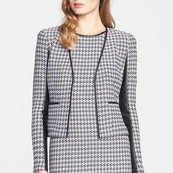 Women's St. John Collection Leather Trim Houndstooth Tweed Jacket
