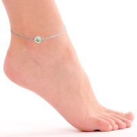 Daisy Flower Silver Chain Anklet Fashion Simple Bracelet Jewelry