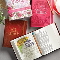 Coloring Bibles for Illustrated Faith Journaling - My Creative bible - Bible Journal - Pink Aqua Brown or Floral Cover - KJV Coloring Bible