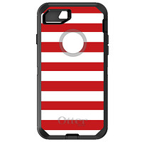 DistinctInk™ OtterBox Defender Series Case for Apple iPhone / Samsung Galaxy / Google Pixel - Red & White Bold Stripes