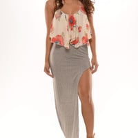 Sexy Open Side Maxi Skirt - Grey