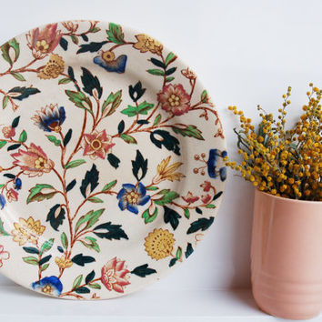 Spring Floral Plate / Painted Ceramic Platter / Pink, Yellow & Blue Flowers / Vintage Pottery