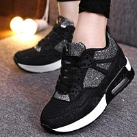 Running Shoes For Women Platform Glitter Running Shoes With Lace Tie Closure