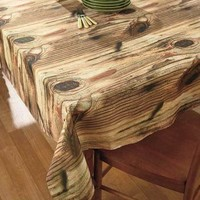 """Photo Real Natural Wood Look Tablecloth 52"""" X 70"""" Cabin Rustic Picnic Table"""