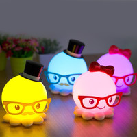 Colorful Bright Creative Octopus Lights USB Portable Charger Bedroom Bedside Lamp [6282538118]
