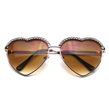 Cute Chic Heart Shape Glam Rhinestone Aviator Sunglasses
