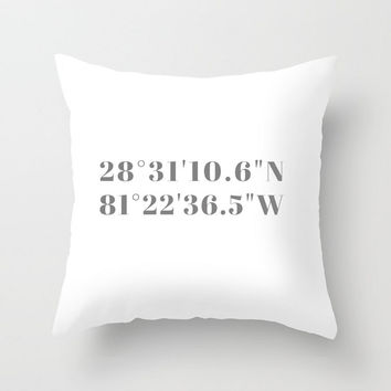 Gray + White Coordinates Throw Pillow or Cover, Custom Coordinates Gift, Valentines Gift, Anniversary Gift