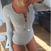 Pure color fashion threaded chain jumpsuit