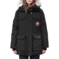 Canada Goose Expedition Hooded Down Parka with Coyote Fur Trim Black