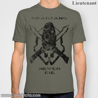 """Halo """"Spartans Never Die"""" Jersey T-Shirt Tee Shirt For Him Olive Drab OD Green Dark Bullet Hole Video Game Gamer Geek Nerdy Geekery Badass"""