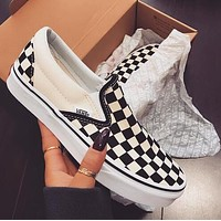 VANS Black White Plaid Men Women Casual Slip-On Canvas Sport Flat Shoes