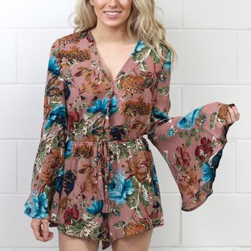 Long Sleeve Bells + Whistles Floral Romper {Dusty Pink} - Size MEDIUM