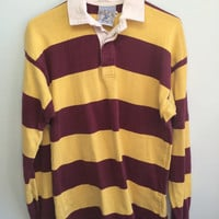 vintage dark red / yellow collared rugby shirt - arizona state / USC rugby shirt