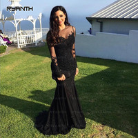 NP3 Elegant Black Lace Long Sleeve Mermaid Prom Dresses 2017 New Arrival O Neck Robe de soiree longue Evening Dress For Party