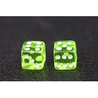 Miniature Pair of 1/4 Inch Clear Green Dice