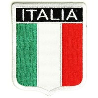 "Embroidered Iron On Patch - Italian Italia Shield Flag 2.5"" x 3.25"" Patch"