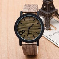 Unisex Wood Casual Sports Leather Watch Best Gift  + Gift Box