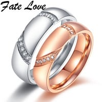 Fate Love Engraved Promise Lover's Rings Micro Inlay Zircon Rose Gold Plated Stainless Steel Jewelry For Couples Wedding FL512