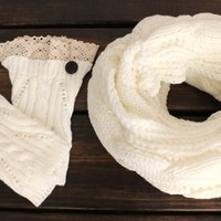 Women's Scarf, Gift Set, Boot Cuffs, Button Scarf, Knit Infinity Scarf, Scarf, Cable Knit Scarf, Ivory Scarf, Winter Scarf from My fashion creations