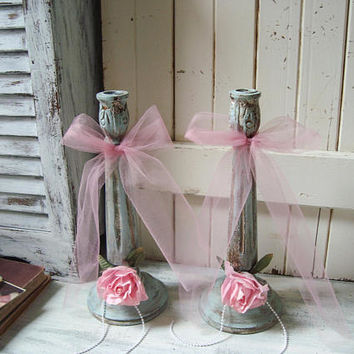 Shabby Chic Blue Candlestick Holders, French Blue Candle Holders, Blue Taper Candlesticks, Candleholders with Pink Roses, Blue Nursery Decor