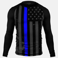 Tactical Thin Blue Line USA Flag Compression Long Sleeve Jersey