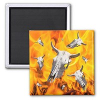Cow skull and fire 2 inch square magnet