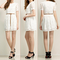 Lace Flower Short Sleeves Dress with Belt 052402
