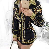 Versace Fashionable Woman Personality Print Long Sleeve Lapel Shirt Top Tee Black