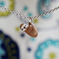 Hanging sloth necklace, cute dangling sloth jewelry
