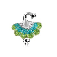2016 new Body Jewelry Rhinestone 316L medical steel Dangle Rewind the peacock Button Barbell Belly Navel Ring Bar Piercing chain