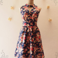 Exotic Rose Floral dress Navy High Neck Elegant Floral Dress, Dreamy Fairy Tale Party Dress for Photo shoot, Lovely Sundress - XS-XL, Custom
