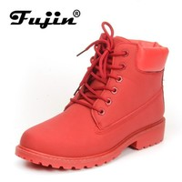 Black Boots For Women Ankle Length Plush Warm Winter Boots