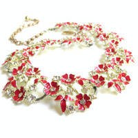 Vintage Charel Red Flower Enamel Necklace with Rhinestones, Floral Flower Necklace, Silver Tone Metal