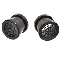 0 Gauge (0g-8mm) Black Titanium IP Spider Web Face Ear Tunnels Screw-On Plugs - Sold in Pairs