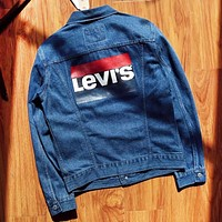 Levis Autumn And Winter Fashion New Letter Print Long Sleeve Coat Jacket Blue