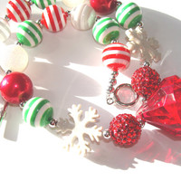 Christmas Chunky Beaded Necklace Toddler Girl Red Green White