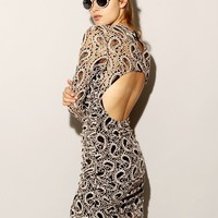 LACE PAISLEY FITTED DRESS