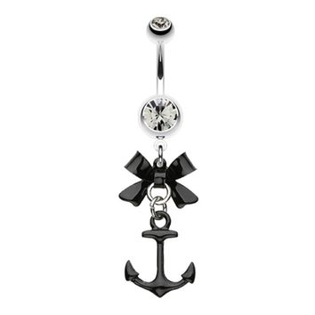 Cute Anchor Bow-Tie Steel Top Belly Button Ring