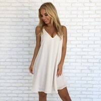 Bound Together Shift Dress In Ivory
