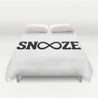 Snooze Forever Pillow Duvet Cover by RexLambo