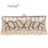 Fawziya Initials Evening Bags And Clutches Glitter Metal Hard Clutch Purses For Women