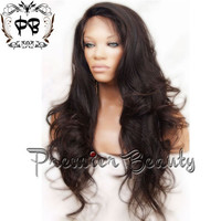 Free shipping curly virgin remy brazilian human hair full lace wig natural color Wavy full lace wigs bleached knots with baby hair