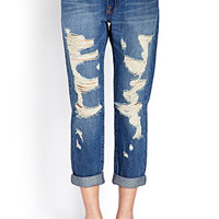 FOREVER 21 Rustic Ripped Jeans Denim Washed